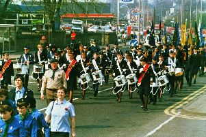 The 1987 2nd Sutton in Ashfield Boys and Girls Brigade Band at Mansfield St Georges Day Parade