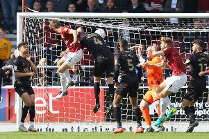 Picture by Gareth Williams/AHPIX.com; Football; Sky Bet League Two; Northampton Town v Mansfield Town; 13/4/2019  KO 15.00; PTS Academy Stadium; copyright picture; Howard Roe/AHPIX.com; Sam Foley heads Northampton level against Mansfield