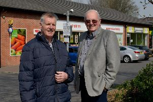(L-R) Les Kittle and Terry Wilkins outside the One Stop onWoodhouse Road, where they have received parking fines.