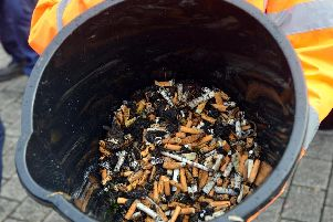 Discarded cigarette butts removed from Sunderland city centre as part of the deep clean.