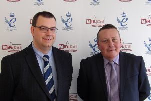 Directors Jonathan Dul (left) and Mark Tacey celebrate MiRiCal receiving the Queen's Award for Enterprise.