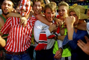 Dave Bassett, then Sheffield United manager celebrates with fans after winning promotion in 1990. Picture: Action Images / Darren Walsh FILM