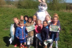 Youngsters meet the Easter Bunny at Durham University holiday camp.