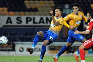 Alistair Smith in action for Mansfield Town.