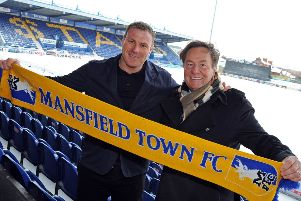 Mansfield Town owner, John Radford, with manager David Flitcroft.