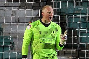 Picture by Gareth Williams/AHPIX.com; Football; Sky Bet League Two Play-Off Semi-Final; Newport County v Mansfield Town; 9/5/2019; KO 19.45; Rodney Parade; copyright picture; Howard Roe/AHPIX.com; Mansfield keeper Conrad Logan carries on his protest after Newport scored