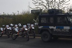 Police were in Ashfield to tackle nuisance off-road bikers.
