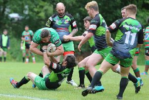 Francis Appleton bursts through the Derby defence to score Wolf Hunt's second try of the game   - Pic by Richard Parkes
