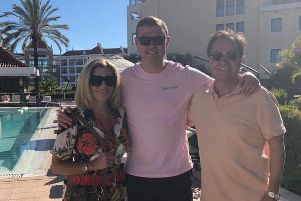Plotting success - new Stags boss John Dempster with CEO Carolyn Radford and chairman John Radford in Portugal.