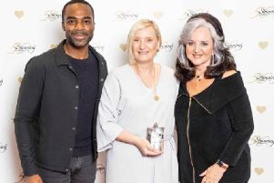 Group Consultant Sue Redfern, centre, with TV presenter Ore Oduba, left, and Slimming World founder Margaret Miles Bramwell.