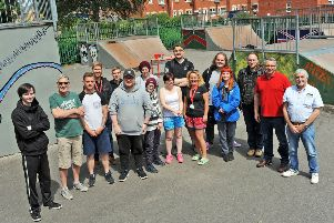 Young people who worked on a Prince's Trust project to breath new life in to Warsop's Carrs skate park, pictured at the hand-over back to Council officials  at a get-together after completion of works which was also supported by the Rotary Club.