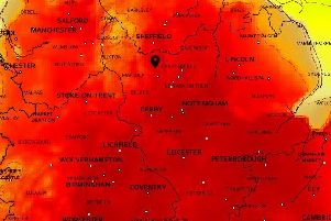 Temperature map from the Met Office.