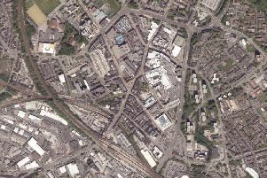 An aerial shot of Wigan town centre