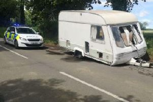 One of the two caravans dumped on the side of a road in Ledston