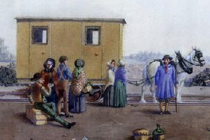 A painting of one of the first horse-drawn coaches to be used on the railway.