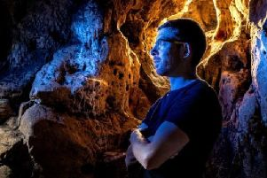 AlanJames Burns at Creswell Crags, by Stephen Garnett/Charlotte Graham Photography.