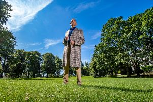 On The Stray in  Harrogate, Malcolm Campbell wears a coat in the Callanish Tartan, the only registered Harris Tweed tartan, designed by Malcom based on the Balmoral tartan, woven by the Carloway Mill on the Isle of Lewis and tailored by Carl Stuart of Ossett. Picture by James Hardisty.