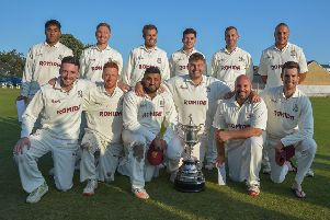 Woodlands, winners of Bradford League Priestley Cup after beating New Farnley in the final at Undercliffe last Sunday. PIC: Ray Spencer