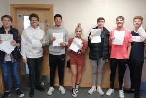 Brunts Academy pupils celebrate their results.