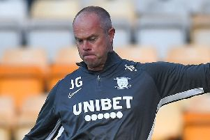 New PNE keeper coach Jonathan Gould at Valley Parade on Tuesday