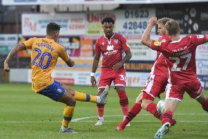 Picture: Andrew Roe/AHPIX LTD, Football, Carabao Cup First Round, Mansfield Town v Morecambe, One Call Stadium, Mansfield UK, 13/08/19, K.O 7.45pm''Mansfield's Kellan Gordon has a shot on goal'Howard Roe>>>>>>>07973739229