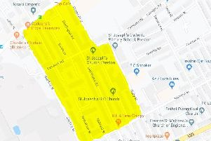The area highlighted in yellow is under a dispersal order.