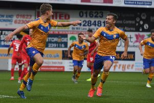 Picture: Andrew Roe/AHPIX LTD, Football, Sky Bet League Two, Mansfield Town v Leyton Orient, One Call Stadium, Mansfield UK, 20/08/19, K.O 7.45pm''Mansfield's Danny Rose (l) celebrates his penalty with Otis Khan''Howard Roe>>>>>>>07973739229
