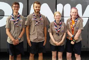 Four Ilkeston Scouts have just returned home from North America after representing the UK at the 24th World Scout Jamboree. From left, Mark Wadey, Sam Davis, Ellie Chadburn-Tennyson, and Chloe Philips.