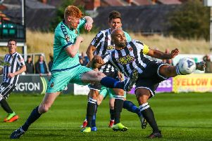 Courtney Meppen-Walter in action for Chorley against Spennymoor Town in the FA Cup On Saturday