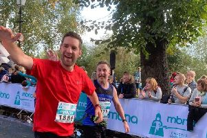 Clark Crosby (right in Rosemere running vest), of Lostock Hall, took part in the Chester Marathon for Rosemere in memory of his dad Ian, with friend Gareth Wilkinson, of Clayton-le-Woods