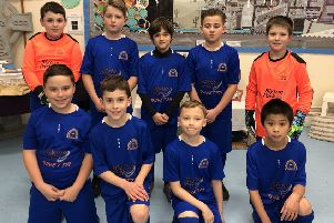 The winning footballers from Blyton cum Laughton Primary who were crowned champions of the small schools section.