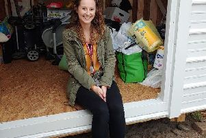 Elle Murphy with the goods collected for Sistercare, an organisation that offers shelter and support services for survivors and their children in America
