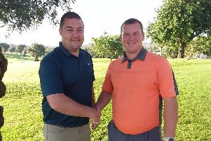 Gazette Matchplay champion Chris Boyes (left) and runner-up Chris Nay Picture: BILL JOHNSON