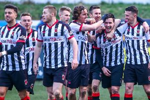 Players celebrate after Blakeman scores Chorley's second (photo: Stefan Willoughby)