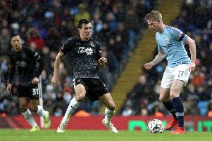 Manchester City's Kevin De Bruyne under pressure from Burnley's Jack Cork''Photographer Rich Linley/CameraSport''Emirates FA Cup Fourth Round - Manchester City v Burnley - Saturday 26th January 2019 - The Etihad - Manchester' 'World Copyright � 2019 CameraSport. All rights reserved. 43 Linden Ave. Countesthorpe. Leicester. England. LE8 5PG - Tel: +44 (0) 116 277 4147 - admin@camerasport.com - www.camerasport.com