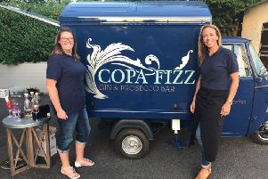 Gillian Bartlett (left) with Louise  McParland at the launch of their mobile bar hire company Copa Fizz in September 2017