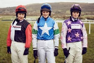 Winning women jockeys at last year's Cheltenham Festival, from left, Harriet Tucker, Lizzie Kelly and Bridget Andrews. (PHOTO BY: Great British Racing)