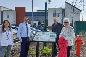 Unveiling on 80th Anniversary of King George VIs visit to ROF Chorley. Left to Right is Carole Cannon from Runshaw College, Lancashire County Coun Aidy Riggott, historian Stuart Clewlow, and Parish Coun Katrina Reed - Chairman Euxton Parish Council (Image: Euxton Parish Council)