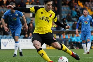 Adam Blakeman steps up to take a penalty at Edgeley Park