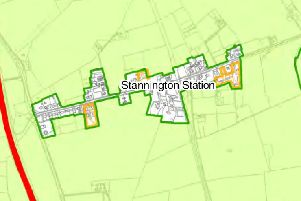 A map showing the green-belt extension boundaries from the submission draft of the Northumberland Local Plan. Sites in orange have planning permission for housing.