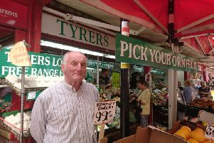 John Tyrer at his fruit and veg stall in Chorley