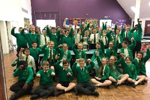 Chorley FC boss Jamie Vermiglio brought the play-off trophy to his primary school