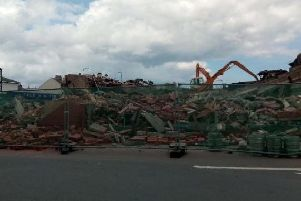 Demolition work being carried out over the weekend at the Longscar site in Seaton Carew.