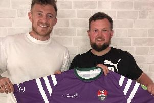 Rugby leagues Josh Charnley with Team Colostomy UK ambassador Kav Ellison