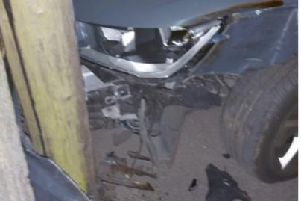 The Audi A1 was struck by a white Ford Transit van at 1.25am on Thursday, May 16, but the van driver failed to stop.