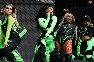 Little Mix strut their stuff at Radio 1's Big Weekend in Middlesbrough. Pic: Owen Humphreys/PA Wire.