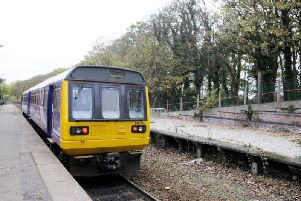 A Pacer train at Lytham train station