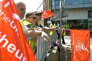 Stagecoach protesters outside Chorley Bus Station