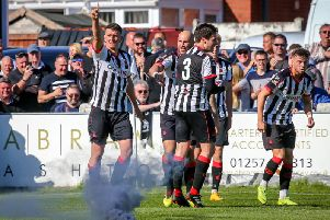 Scott Leather celebrates scoring against Spennymoor