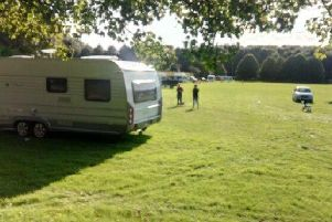 Travellers set up camp at Penwortham Holme in the summer of 2017